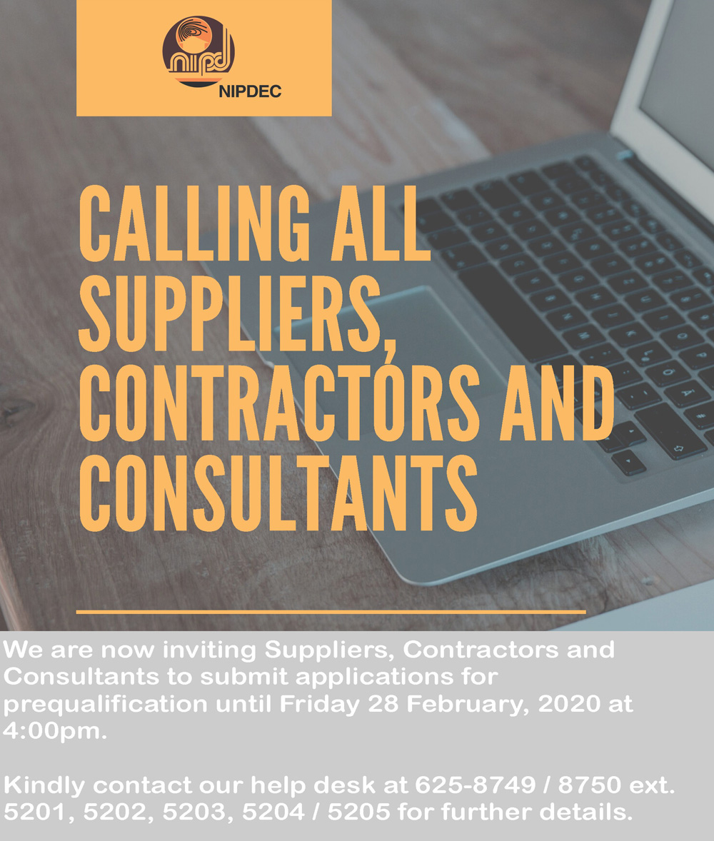 Pre-Qualification of Contractors and Suppliers 2020